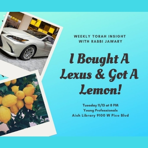 Weekly Torah Insights with Rabbi Jawary, I Bought A Lexus and Got A Lemon - Aish LA Website