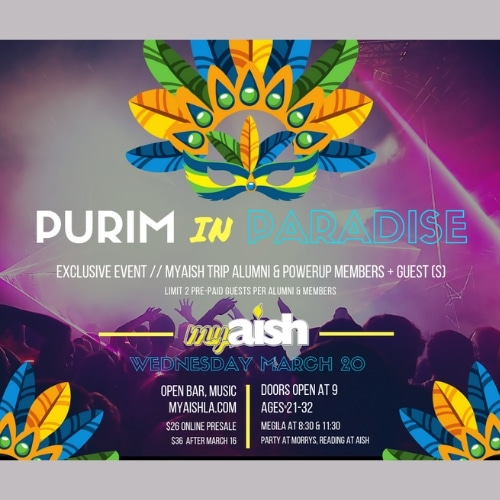 MyAish Purim In Paradise Flyer - Aish LA Website