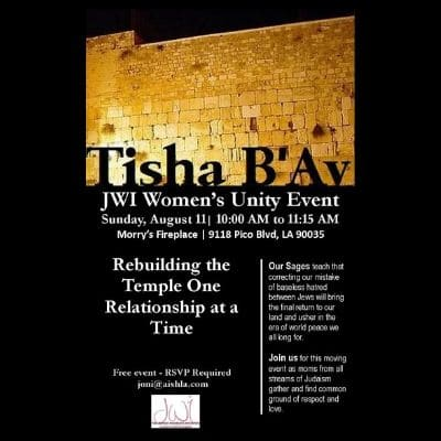 JWI Tisha B'Av Event - Aish LA Website