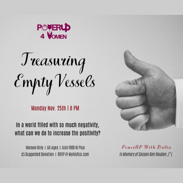 MyAish Treasuring Empty Vessels - Aish LA Website