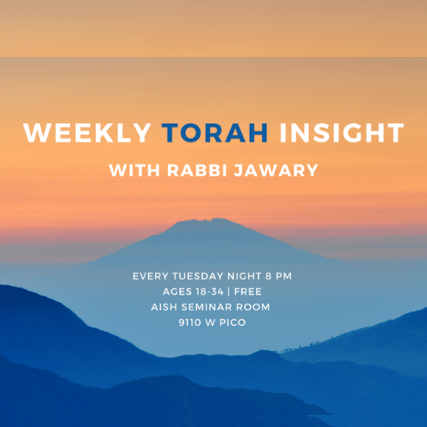 MyAish Weekly Torah Inisghts with Rabbi Jawary - Aish LA Website