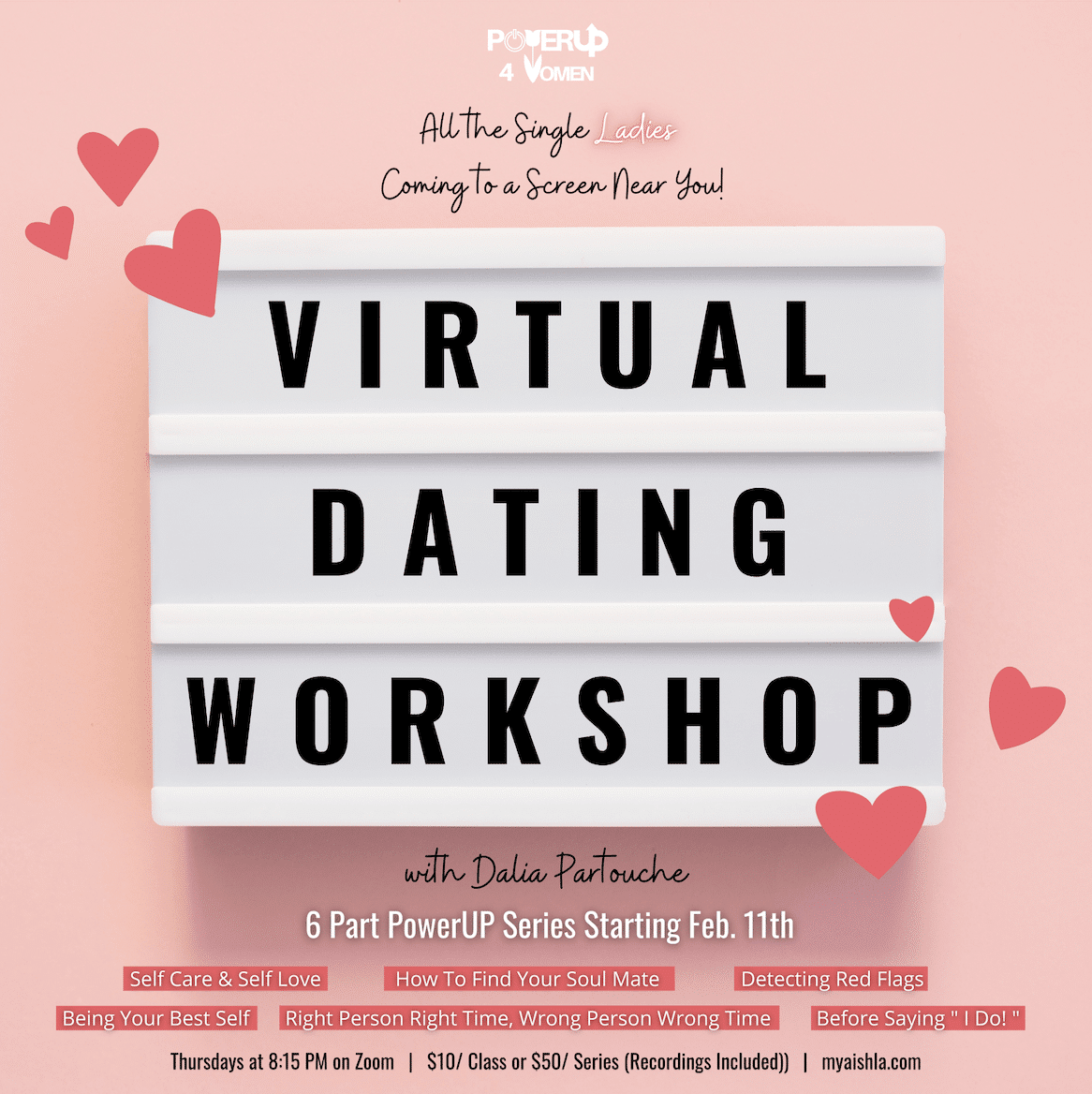 Virtual Dating Workshow with Dalia Partouche - MyAish Los Angeles